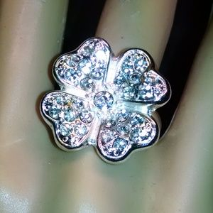 Lucky Four leaf Clover Rhinestones Cocktail Ring